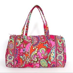 Vera Bradley Pink Swirls Large Quilted Duffel Bag